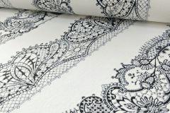 13379-34 cikkszámú tapéta.Csíkos,csipke,dekor tapéta ,különleges felületű,különleges motívumos,textil hatású,fehér,fekete,lemosható,illesztés mentes,vlies tapéta