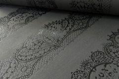 13379-44 cikkszámú tapéta.Csíkos,csipke,dekor tapéta ,különleges felületű,különleges motívumos,textil hatású,fekete,szürke,illesztés mentes,lemosható,vlies tapéta