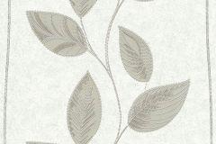 13386-10 cikkszámú tapéta.Csíkos,különleges motívumos,rajzolt,természeti mintás,ezüst,fehér,szürke,zöld,lemosható,illesztés mentes,vlies tapéta