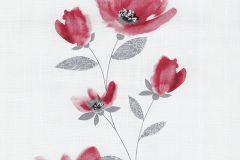 13488-30 cikkszámú tapéta.Csíkos,dekor tapéta ,különleges felületű,különleges motívumos,rajzolt,retro,természeti mintás,virágmintás,fehér,piros-bordó,szürke,lemosható,illesztés mentes,vlies tapéta