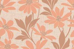 13524-60 cikkszámú tapéta.Különleges felületű,különleges motívumos,rajzolt,retro,természeti mintás,virágmintás,bézs-drapp,narancs-terrakotta,szürke,lemosható,vlies tapéta