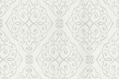 20321-10 cikkszámú tapéta.Barokk-klasszikus,csillámos,különleges felületű,különleges motívumos,textil hatású,ezüst,szürke,súrolható,papír tapéta