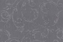 42119-50 cikkszámú tapéta.Barokk-klasszikus,csíkos,különleges felületű,különleges motívumos,rajzolt,textil hatású,virágmintás,ezüst,szürke,súrolható,vlies tapéta
