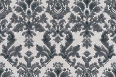 02485-30 cikkszámú tapéta.Barokk-klasszikus,csillámos,különleges felületű,különleges motívumos,metál-fényes,retro,ezüst,fekete,szürke,súrolható,vlies tapéta