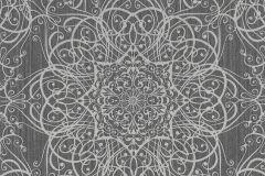 02465-10 cikkszámú tapéta.Barokk-klasszikus,csillámos,különleges motívumos,ezüst,fekete,szürke,súrolható,vlies tapéta