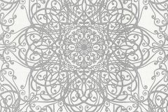 02465-30 cikkszámú tapéta.Barokk-klasszikus,csillámos,különleges motívumos,ezüst,fehér,súrolható,vlies tapéta