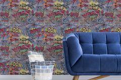 05588-10 cikkszámú tapéta.Feliratos-számos,gyerek,különleges motívumos,retro,barna,fekete,kék,narancs-terrakotta,sárga,szürke,zöld,gyengén mosható,papír tapéta