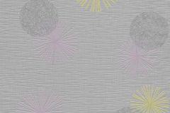 13584-20 cikkszámú tapéta.Különleges felületű,különleges motívumos,retro,lila,sárga,szürke,lemosható,illesztés mentes,vlies tapéta