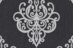 02491-10 cikkszámú tapéta.Barokk-klasszikus,csillámos,ezüst,fekete,súrolható,vlies tapéta