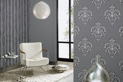 02491-40 cikkszámú tapéta.Barokk-klasszikus,csillámos,ezüst,szürke,súrolható,vlies tapéta