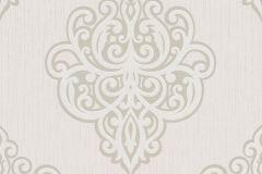 02491-60 cikkszámú tapéta.Barokk-klasszikus,csillámos,ezüst,fehér,súrolható,vlies tapéta
