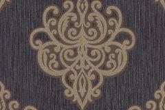 02491-70 cikkszámú tapéta.Barokk-klasszikus,csillámos,arany,barna,fekete,súrolható,vlies tapéta