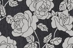 02492-10 cikkszámú tapéta.Barokk-klasszikus,csillámos,virágmintás,ezüst,fekete,súrolható,vlies tapéta