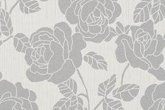 02492-30 cikkszámú tapéta.Barokk-klasszikus,csillámos,virágmintás,ezüst,fehér,szürke,súrolható,vlies tapéta