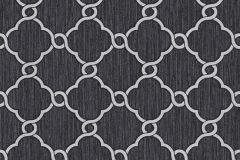 02493-10 cikkszámú tapéta.Barokk-klasszikus,csillámos,geometriai mintás,különleges felületű,ezüst,fehér,fekete,szürke,súrolható,vlies tapéta
