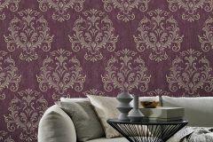02522-50 cikkszámú tapéta.Barokk-klasszikus,különleges felületű,különleges motívumos,arany,bézs-drapp,lila,piros-bordó,súrolható,vlies tapéta