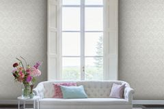 085142 cikkszámú tapéta.Barokk-klasszikus,valódi textil,ezüst,fehér,vlies tapéta