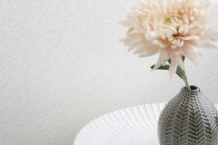 085234 cikkszámú tapéta.Barokk-klasszikus,valódi textil,ezüst,fehér,vlies tapéta
