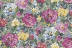 958539 cikkszámú tapéta.Különleges felületű,textilmintás,virágmintás,kék,lila,pink-rózsaszín,sárga,szürke,zöld,lemosható,vlies tapéta
