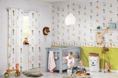 245011 cikkszámú tapéta.állatok,gyerek,rajzolt,fehér,sárga,szürke,türkiz,zöld,gyengén mosható,illesztés mentes,papír tapéta