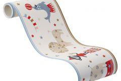 245424 cikkszámú tapéta.állatok,gyerek,rajzolt,barna,kék,piros-bordó,szürke,zöld,papír bordűr