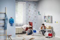 245813 cikkszámú tapéta.Gyerek,rajzolt,fehér,kék,piros-bordó,sárga,zöld,gyengén mosható,papír tapéta