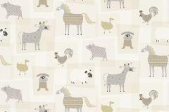 247008 cikkszámú tapéta.állatok,gyerek,rajzolt,bézs-drapp,fehér,fekete,szürke,gyengén mosható,papír tapéta
