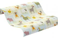 247015 cikkszámú tapéta.állatok,gyerek,rajzolt,bézs-drapp,kék,pink-rózsaszín,türkiz,zöld,gyengén mosható,papír tapéta