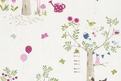 247220 cikkszámú tapéta.állatok,gyerek,rajzolt,barna,fehér,pink-rózsaszín,zöld,gyengén mosható,papír tapéta