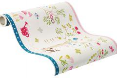 247329 cikkszámú tapéta.állatok,gyerek,rajzolt,barna,bézs-drapp,kék,pink-rózsaszín,zöld,papír bordűr