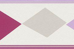 247909 cikkszámú tapéta.Geometriai mintás,gyerek,lila,pink-rózsaszín,szürke,papír bordűr