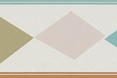 247916 cikkszámú tapéta.Geometriai mintás,gyerek,barna,bézs-drapp,türkiz,zöld,papír bordűr