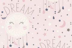 248753 cikkszámú tapéta.Feliratos-számos,gyerek,különleges felületű,rajzolt,barna,fehér,pink-rózsaszín,gyengén mosható,papír tapéta
