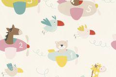 249064 cikkszámú tapéta.állatok,gyerek,különleges felületű,fehér,pink-rózsaszín,piros-bordó,sárga,zöld,gyengén mosható,papír tapéta