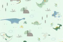 249330 cikkszámú tapéta.állatok,gyerek,különleges felületű,rajzolt,kék,sárga,szürke,zöld,gyengén mosható,papír tapéta