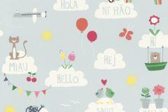 249439 cikkszámú tapéta.állatok,feliratos-számos,gyerek,különleges felületű,rajzolt,barna,kék,narancs-terrakotta,pink-rózsaszín,piros-bordó,sárga,zöld,gyengén mosható,papír tapéta