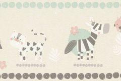 249866 cikkszámú tapéta.állatok,gyerek,különleges felületű,rajzolt,bézs-drapp,fehér,pink-rózsaszín,szürke,zöld,papír tapéta
