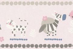 249873 cikkszámú tapéta.állatok,gyerek,különleges felületű,rajzolt,fehér,kék,pink-rózsaszín,szürke,papír tapéta
