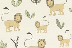 531701 cikkszámú tapéta.állatok,gyerek,különleges felületű,rajzolt,bézs-drapp,sárga,szürke,zöld,lemosható,vlies tapéta