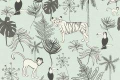 531800 cikkszámú tapéta.állatok,gyerek,különleges felületű,rajzolt,fehér,fekete,kék,szürke,lemosható,vlies tapéta