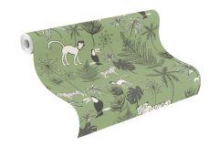 531817 cikkszámú tapéta.állatok,gyerek,különleges felületű,rajzolt,fehér,fekete,zöld,lemosható,vlies tapéta