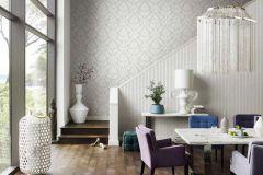 474343 cikkszámú tapéta.Barokk-klasszikus,textil hatású,fehér,szürke,lemosható,vlies tapéta
