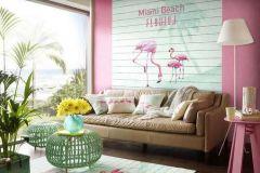 474404 cikkszámú tapéta.állatok,fa hatású-fa mintás,feliratos-számos,fekete,pink-rózsaszín,türkiz,zöld,vlies panel, fotótapéta