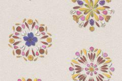 476101 cikkszámú tapéta.Természeti mintás,virágmintás,bézs-drapp,fehér,lila,pink-rózsaszín,piros-bordó,sárga,lemosható,vlies tapéta
