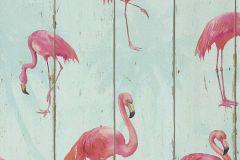 479706 cikkszámú tapéta.állatok,fa hatású-fa mintás,fekete,pink-rózsaszín,türkiz,zöld,lemosható,vlies tapéta