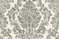 522747 cikkszámú tapéta.Barokk-klasszikus,különleges felületű,textilmintás,fehér,szürke,lemosható,vlies tapéta