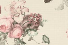 527636 cikkszámú tapéta.állatok,különleges felületű,természeti mintás,textil hatású,virágmintás,bézs-drapp,pink-rózsaszín,szürke,zöld,lemosható,vlies tapéta