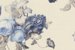 527643 cikkszámú tapéta.állatok,különleges felületű,természeti mintás,textil hatású,virágmintás,barna,fehér,kék,szürke,lemosható,vlies tapéta