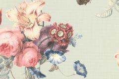 527650 cikkszámú tapéta.állatok,különleges felületű,természeti mintás,textil hatású,virágmintás,kék,pink-rózsaszín,türkiz,zöld,lemosható,vlies tapéta
