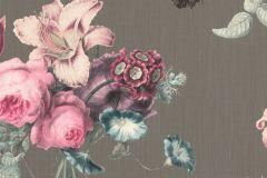 527667 cikkszámú tapéta.állatok,különleges felületű,természeti mintás,textil hatású,virágmintás,barna,bézs-drapp,kék,pink-rózsaszín,szürke,vajszín,lemosható,vlies tapéta